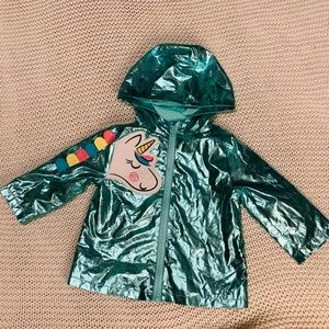 wonder nation Jackets & Coats - Wonder Nation Aqua Metallic Unicorn Jacket Sz 12M